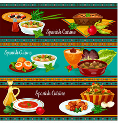 Spanish cuisine restaurant dinner banner set vector