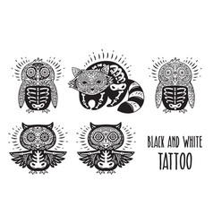 Sugar skulls black and white tattoo vector