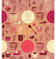 Tea party card design vector image