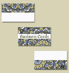Template business cards with oriental pattern and vector
