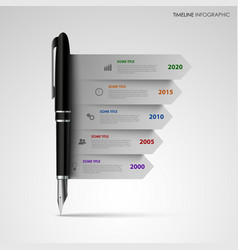 Time line info graphic with gray stripes on black vector