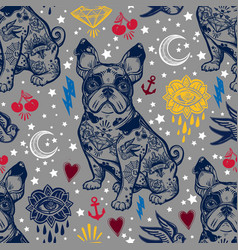vintage traditional tattoo flash seamless pattern vector image vector image