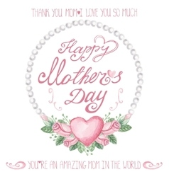 Watercolor pink roses pearls wreathmothers day vector