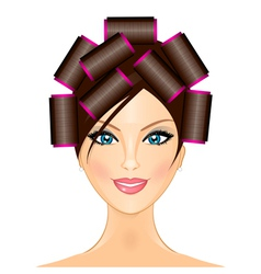 Woman with curlers vector