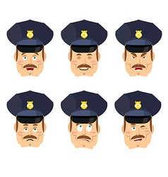 Emotions policeman icon set expressions avatar cop vector