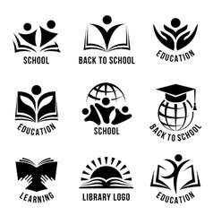 Set of black and white school logos vector