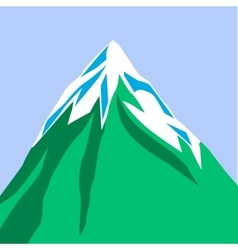 Green mountain isolated on blue background snow vector