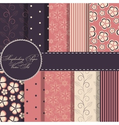 Set of beaautiful red and blue paper for scrapbook vector