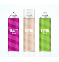 Aluminium colorful beauty spray can set vector