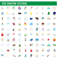 100 snow icons set cartoon style vector