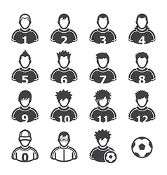 Soccer player icons vector
