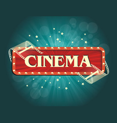 Old cinema banner with stripe roll cinema vector