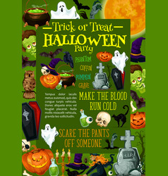 Halloween pumpkin poster for horror night party vector