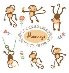 Cute funny monkeys collection vector