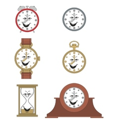 Cartoon funny clock face smiles 05 vector