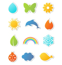 nature icons set vector image