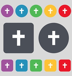 Religious cross christian icon sign a set of 12 vector