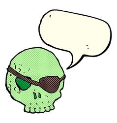 Cartoon skull with eye patch with speech bubble vector