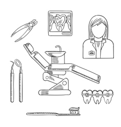 Dentist profession icons and symbols vector