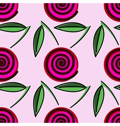 Pattern decorative cherry on the pink backdrop vector