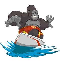 Funny monkey surfer vector image