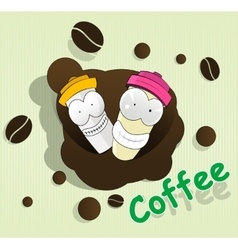 Two cute cartoon disposable coffee cups vector