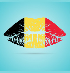 belgium flag lipstick on the lips isolated on a vector image vector image