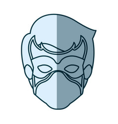 Blue silhouette with face of guy superhero with vector