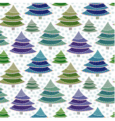 Christmas fir trees seamless pattern vector
