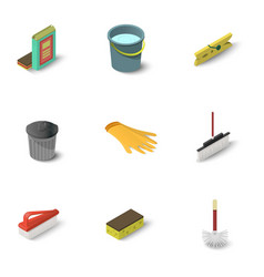 Cleaning equipment icons set isometric style vector