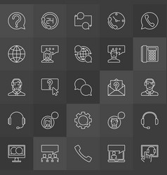 customer support icons - support service vector image vector image