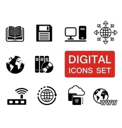 digital icons set with red signboard vector image