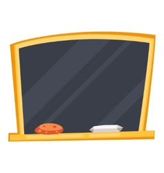 Empty black school board with sponge and chalk vector image