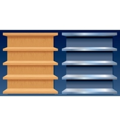 Empty metal and wood shelves vector