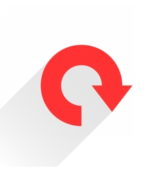 Flat red arrow icon reload refresh rotation sign vector