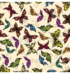 Flying tropical butterflies seamless pattern vector image