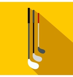 Golf clubs flat icon vector