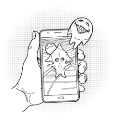 Graphic hand holding fantasy smartphone vector