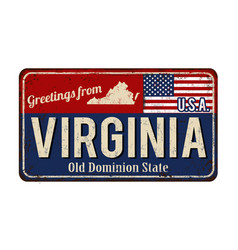 Greetings from virginia vintage rusty metal sign vector