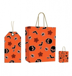 Halloween bag and tag set vector image vector image