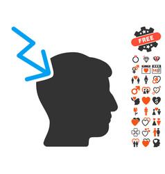 Head electric strike icon with love bonus vector
