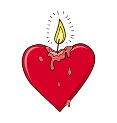 Heart burning candle vector image vector image