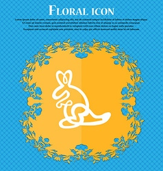 Kangaroo Icon sign Floral flat design on a blue vector image