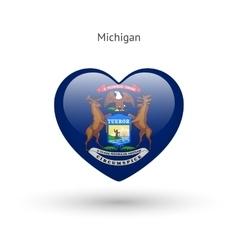 Love michigan state symbol heart flag icon vector