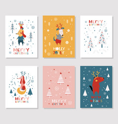 Merry christmas card collection vector
