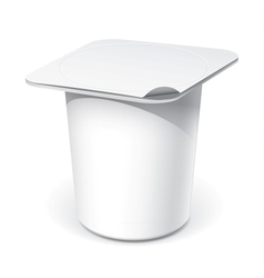 Realistic White blank plastic container for yogurt vector image