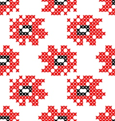 Seamless texture abstract embroidered red flowers vector