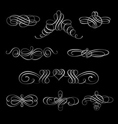 set of calligraphic design elements and vector image