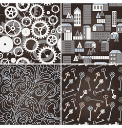 Set of retro seamless patterns vector