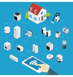 Smart Home Appliances Isometric Composition vector image